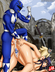 ass billy_cranston bisexual black_hair blonde_hair crossover cum dildo doggy_style female highschool_of_the_dead john_hollow male penis power_rangers princess_rosalina pussy saeko_busujima sex super_mario_bros. testicles threesome vaginal_insertion