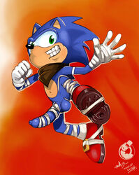 2014 anthro ascot balls bandage big_eyes erection footwear gloves gums happy hedgehog hi_res looking_at_viewer male mammal navel neokat nude penis quills sega shoes smile solo sonic_(series) sonic_boom sonic_the_hedgehog teeth uncut video_games