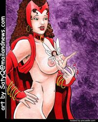 2girls ahe_gao areola ass ass_grab avengers between_breasts breast_fondling breast_grab breasts cape earrings erect_nipples fairy_sized fairy_wings fingering hoop_earrings janet_van_dyne yuri marvel navel nipple_fondling nipples no_bra no_panties nude pussy red_hair satyq scarlet_witch wanda_maximoff wasp x-men yuri