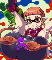 bike_shorts female flat_chest grin inkling kanriken legs_over_head long_hair mask no_panties pointy_ears prehensile_hair red_eyes red_hair shoes skin_tight smile sneakers solo splatoon spread_pussy_under_clothes super_soaker tentacle_hair twintails