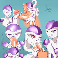 2014 alien cum cum_in_mouth cum_inside cum_on_face deep_throat dragon_ball fellatio foot_fetish footjob frieza gay licking male oral oral_sex penis saurian_(artist) sex tongue