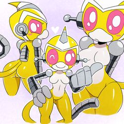 2014 anthro ass blush breasts cute female frown happy heart hi_res looking_at_viewer machine mammal mechanical monkey multiple_poses nova nude one_eye_closed primate pussy robot smile solo sssonic2 super_robot_monkey_team_hyperforce_go