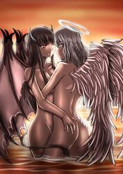 2girls angel ass blue_eyes breasts brown_hair demon_girl demon_wings eye_contact feathers halo horns k-nashi long_hair multiple_girls nude open_mouth original partially_submerged red_eyes sideboob standing sunset tail water white_hair wings yuri