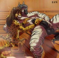 anthro balls big_penis cheetah cum equine erection feline fur furry gay hair handjob long_hair male penis rov sauna triforce zebra