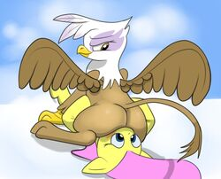 ass avian beak big_ass blue_background brown_feathers clouds equine facesitting fluttershy_(mlp) friendship_is_magic gilda_(mlp) gryphon my_little_pony pink_hair sky smirk tail wings yellow_fur yuri
