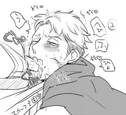 auruo_bossard cape cum monochrome oral penis saliva shingeki_no_kyojin short_hair white_background yaoi