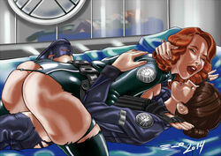 ass avengers black_widow clothing_damage maria_hill marvel partially_clothed psicoero yuri