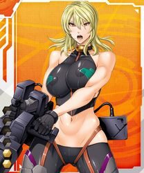 blonde_hair clothed_nipples fei_(maidoll) female gloves halter_top large_breasts lilith-soft midriff open_mouth orange_eyes railgun skin_tight tagme taimanin_asagi_battle_arena weapon
