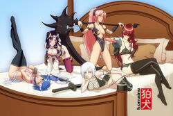5girls agarest_senki all_fours anesha aqua_(kingdom_hearts) armlet ayano_(luminous_arc) bare_shoulders bed black_legwear blue_eyes blue_hair blush breasts cross_edge crossed_legs crossover detached_sleeves elbow_gloves facial_mark fingerless_gloves garter_straps gloves hair_over_one_eye hair_tubes hand_on_own_face harem keyblade kingdom_hearts kirijou_mitsuru kneeling komainu legs_up leotard looking_at_viewer luminous_arc luminous_arc_2 lying megami_tensei multiple_girls necklace nipples on_back on_stomach panties panty_pull persona_3 pink_hair ponytail purple_hair purple_legwear red_eyes red_hair sash scythe see-through sitting sitting_on_bed smile sunglasses sword thighhighs third_eye vira-lorr weapon white_hair yellow_eyes