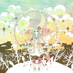 bad_id bear bird boots cloud clouds coat colorful crescent dress flower flowers giraffe hair_flower hair_ornament hatsune_miku highres jewelry keyboard lamb leaf miya_(48ne) moon nail_polish necklace penguin piano piano_keys ribbon sheep standing star stars surreal tree trees vocaloid