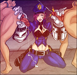 2boys alternate_costume ass barefoot belt bent_over boots breasts cleavage cuffs cum cum_on_clothes dick_hammersmith ejaculation female femdom gauntlets kneeling league_of_legends leaning_forward midriff multiple_boys parted_lips penis pink_hair police police_hat police_uniform policewoman short_hair squeezing tatoo vi