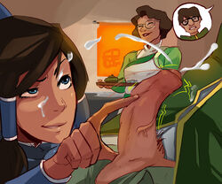 avatar_the_last_airbender black_hair blue_eyes cum dark_skin ejaculation facial female handjob korra male masturbation penis polyle the_legend_of_korra