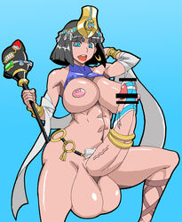 abs arm_up armpits artist_request black_hair blue_eyes breasts censored cock_ring crown dickgirl earrings egyptian erection futa_solo futanari huge_cock large_breasts large_testicles menace nipples open_mouth panties queen's_blade short_hair smile standing testicles