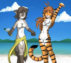anthro breasts chest_tuft feline female flora_(twokinds) fur hair kathrin keidran long_hair mammal nude open_mouth solo stripes tiger tom_fischbach tuft twokinds