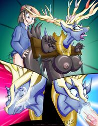 2014 antlers blue_eyes breasts cervine cum deer female horn human legendary_pokémon mammal nintendo open_mouth pokemon sex video_games xerneas