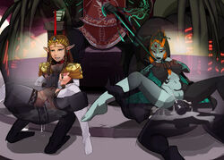 2girls after_sex breasts brown_hair collar cum cum_in_pussy cum_inside elf female foursome ganondorf long_hair male midna nintendo nipples open_legs orange_hair pointy_ears polyle princess_zelda sex spread_legs the_legend_of_zelda thighhighs tied transparent_male twilight_princess two-tone_skin vaginal_penetration