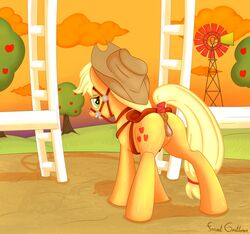 2014 anus apple_tree applejack_(mlp) ass blonde_hair bondage bound cloud cutie_mark earth_pony equine female formal_gentleman friendship_is_magic furry green_eyes hair harness hat horse mammal my_little_pony orange_fur outside pony pussy pussy_juice solo standing sunset sweat tree