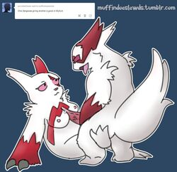 3_toes anoddscot breasts claws cum domination duo female fur furry lying male nintendo nipples on_back panting penis pink_eyes pink_nose pokemon pokephilia red_eyes red_fur straight titjob tongue tuft vein video_games white_fur zangoose