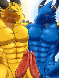 2014 2boys abs anthro blue_dragon blue_dragon_(character) blue_dragon_(series) claws cum cum_on_penis dragon drooling erection fist frottage gay genital_slit happy horn male manly muscles nude orgasm pecs penis penises_touching precum rudolph ryuukikeito saliva sharp_claws sharp_teeth slit smile spikes standing sweat teeth vein veiny_penis yaoi yellow_dragon
