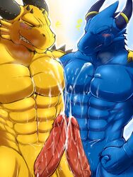 2014 2boys abs anthro blue_dragon blue_dragon_(character) blue_dragon_(series) blush claws closed_eyes cum cum_on_chest cum_on_penis cum_on_stomach dragon drooling fist frottage furry_only gay genital_slit happy horn male manly messy muscles nude orgasm pecs penis penises_touching rudolph ryuukikeito saliva sharp_claws sharp_teeth slit smile spikes standing teeth vein veiny_penis yaoi yellow_dragon