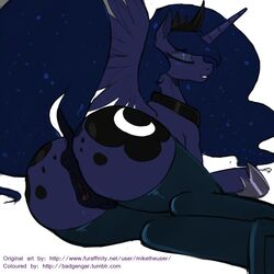 2014 alicorn anus ass badgengar blue_fur blue_hair cutie_mark equine female friendship_is_magic furry hair horn legwear long_hair lying mammal miketheuser my_little_pony on_side plain_background princess_luna_(mlp) pussy solo thigh_highs white_background wings