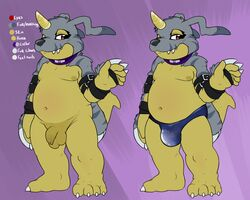 balls bulge chub collar colored comparison d-yoshi digimon flaccid flat_colors fur_pelt gabumon hairless horn leather_straps looking_at_viewer mauve_background model_sheet moobs navel nude penis purple_eyes sagging_balls scalie solo speedo standing swimsuit uncut waving