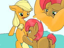 2014 anus applejack_(mlp) ass babs_seed_(mlp) blonde_hair cunnilingus duo earth_pony equine female freckles friendship_is_magic furry green_eyes hair horse incest licking mammal my_little_pony oral oral_sex orange_fur pony pussy sex tongue two_tone_hair vaginal_penetration vulapa yuri