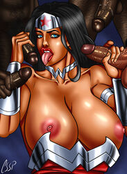 areola big_breasts black_hair blue_eyes cssp dark_skinned_female dc dc_comics erect erect_nipples erect_penis excessive_cum interracial large_areolae lipstick long_hair oral orgy red_lipstick saliva superheroine wonder_woman