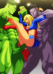 1girl 2boys abs anal arm_grab arms_up black_hair blonde_hair blue_eyes boots breasts clothed_female_nude_male crossover dc double_penetration green_hair green_skin grey_skin hulk hulk_(series) leg_grab long_hair marvel multiple_girls nude open_mouth penis raliugaxxx short_hair skirt smile standing supergirl superman_(series) testicles vaginal_penetration wince