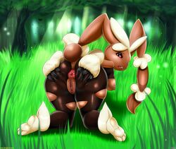 anthro anus ass big_anus big_butt breasts cotton female fluff forest grass lagomorph legwear looking_at_viewer looking_back mammal mega_evolution mega_lopunny nature nintendo nipples open_mouth outside pokemon presenting presenting_hindquarters puffy_anus pussy rabbit solo spreading stockings tall_grass thecon therealshadman tree video_games voluptuous wide_hips