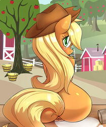 2014 anthro anthrofied anus apple applejack_(mlp) aryanne ass back_turned barn blonde_hair cowboy_hat earth_pony equine eyelashes female freckles friendship_is_magic fruit fur glass green_eyes hair hat hay horse long_hair looking_back mammal milk my_little_pony nude orange_fur outside pony pussy sitting smile solo spill tree