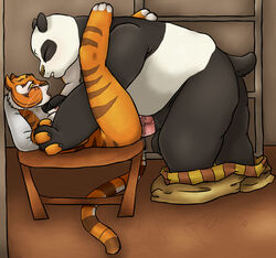 anthro balls bear blush breasts feline female fur furry kamikitty kung_fu_panda male mammal master_tigress panda penetration penis po sex tiger uncensored