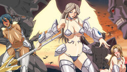 3girls all_fours angel areolae armor bare_shoulders blonde_hair blue_eyes blue_hair blush bouncing_breasts breasts brown_hair censored closed_eyes color dark_skin demon doggy_style female highres hips huge_breasts inja_no_kuruwa legs long_hair looking_aside male multiple_girls navel nipples open_mouth orgy penis pussy rape sex short_hair standing sweat sword thighs thong vaginal_penetration weapon wings