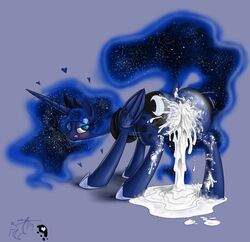 2014 alicorn anus ass blackmorass blue_eyes blue_fur blush cum cum_in_ass cum_in_pussy cum_inside cutie_mark equine excessive_cum eyelashes female feral friendship_is_magic fur hair half-closed_eyes horn licking licking_lips mammal my_little_pony plain_background princess_luna_(mlp) solo tongue wings