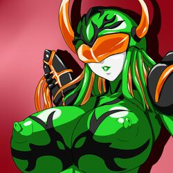 breasts female horns huge_breasts lips super_sentai visor
