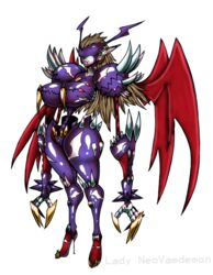 armor blood_in_mouth breasts brown_hair claws digimon digimon_xros_wars earrings female gauntlets grin head_wings high_heels hips huge_breasts long_arms long_hair mask monster_girl neovamdemon nipple_piercing nipples pale_skin rule_63 small_waist spikes thick_thighs thighs vampire visor wide_hips wings