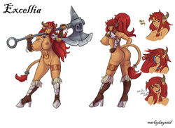 2014 areola ass axe big_breasts big_butt breasts corruption_of_champions ear_piercing english_text erect_nipples excellia_(coc) female hair horn huge_breasts long_hair markydaysaid minotaur model_sheet nipples nude piercing pussy red_hair tattoo text weapon
