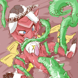anal bondage bound chibi digimon furukara male penetration penis pixiv scalie scarf shoutmon sketch tears tentacle tentacle_on_male vine xros_wars