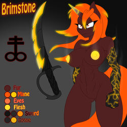 2014 abs anthro anthrofied blonde_hair breasts cutie_mark equine female glowing hair horn jrvanesbroek mammal model_sheet muscles my_little_pony nipples nude orange_eyes orange_hair original_character shiny solo steam sword two_tone_hair unicorn weapon