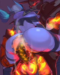 armor ass big_ass dota_2 double_penetration female luna male sex steam torn_clothes