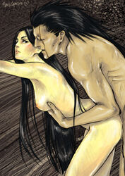 1boy bent_over black_hair bleach breasts female long_hair nude scar sex unohana_retsu very_long_hair zaraki_kenpachi