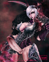 armor castanic cleavage erection futa_solo futanari horns large_penis nocure penis pointy_ears pussy short_hair standing sword tera tera_online veiny_penis weapon white_hair