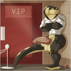 2014 aaron_(artist) anthro biceps big_penis bouncer clothing cobra fangs huge_cock jockstrap long_penis male muscles penis reptile scalie security shirt snake solo standing underwear