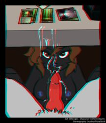 anaglyph animal_genitalia anthro black_fur breasts brown_eyes brown_hair canine canine canine_penis carbonfibreoptik cum cum_in_mouth cum_inside cum_on_breasts cum_on_face cute duo erection faceless_male fellatio female first_person_view fur hair knot looking_at_viewer magic_the_gathering male mammal mewgle nipples nude oral oral_sex orgasm penis sex sherri_mayim smile solo_focus spreading stereogram straight under_the_table wolf
