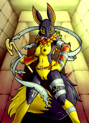 anthro black_fur black_nose breasts canine clitoris digimon egyptian female fluffy_tail fox fur furry looking_at_viewer mammal nipples nude open_mouth pharaoh pussy red_eyes rena renabastet renamon smile solo tongue tp6djo6xup6 uncensored wraps yellow_fur