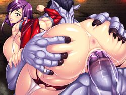 abs anus ass breasts censored female game_cg horse huge_breasts huge_cock ma_wo_haramu_buki monster penis pichipichi_garou_r purple_hair pussy rape sex torn_clothes vaginal_penetration zoophilia