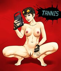 barefoot borderlands breasts brown_hair earrings female fingerless_gloves gloves goggles goggles_on_head grey_eyes highres looking_at_viewer nipples patricia_tannis pussy radprofile red_background short_hair simple_background smile solo squatting uncensored
