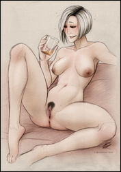 1girl 2014 anus barefoot breasts dr_karin_chakwas feet female mass_effect milf navel nipples nude pubic_hair pussy sagging_breasts short_hair sitting solo uncensored white_hair wicked