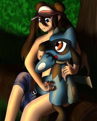 blue_eyes breasts brown_hair canine cum erection female feral hair human interspecies male mammal mckraven nintendo nude penis pokemon riolu rosa_(pokemon) video_games zoophilia