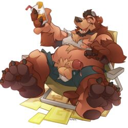ass balls bear big_butt big_paws bulge chubby drink dripping kuma lounging male mammal nipples penis sitting transformation underwear